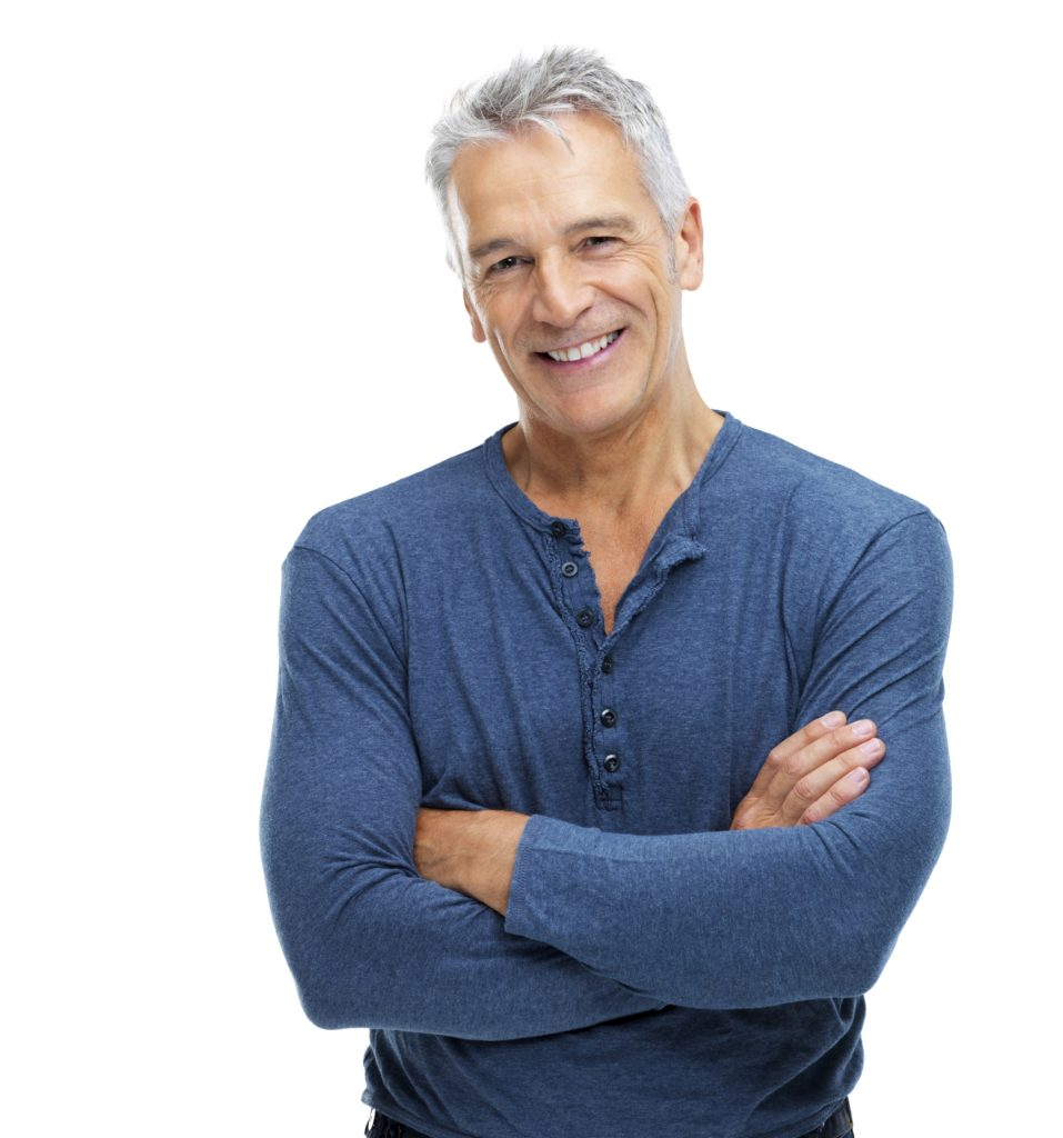 older man smiling and crossing arms - olympia men's health