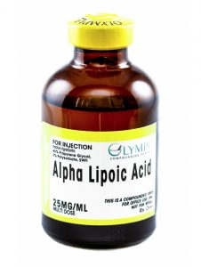 Bottle of Olympia Pharmacy's alpha lipoic acid for multi-dose injections