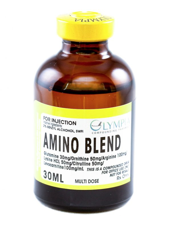 Vial of Olympia Pharmacy's 30 ML Amino Blend multi-dose solution