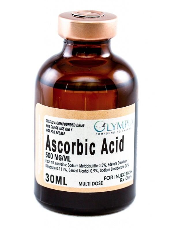 Bottle of 500MG/ML Ascorbic Acid injection solution