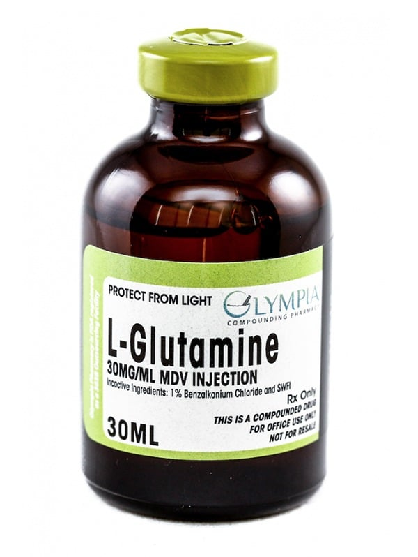 Bottle of L-Glutamine 30MG/ML MDV injection