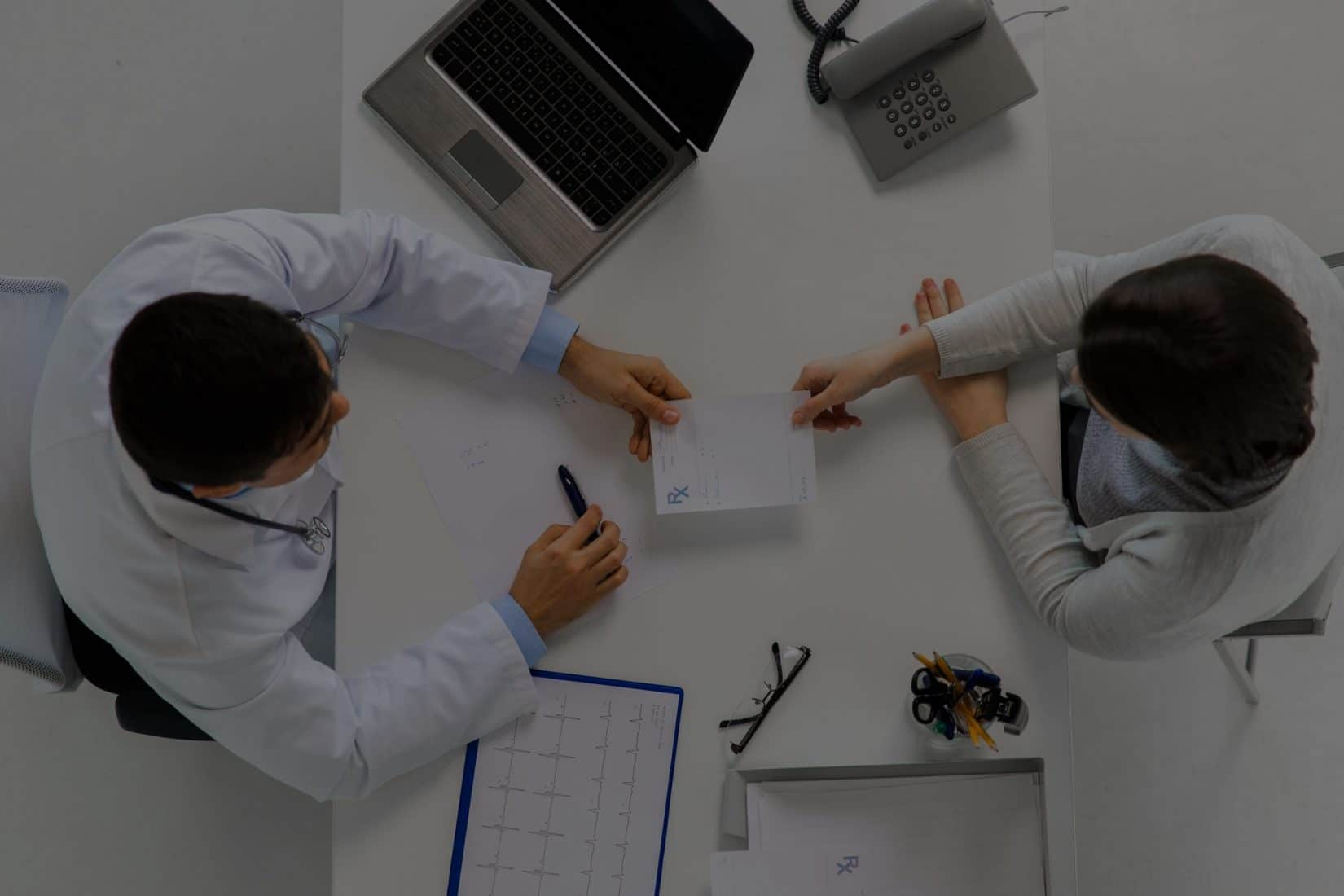 Aerial View of Pharmacist with Patient